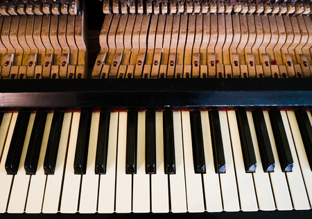 Close up image of interior of grand piano showing strings and structure Stock Photo