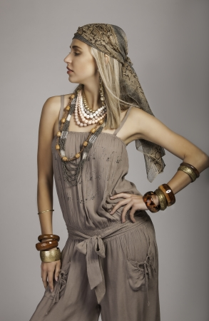 beautiful bohemian woman in safari clothes