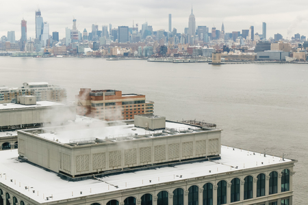The view on Manhattan New York from the in winter day.