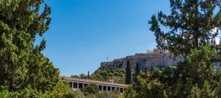 Ancient Agora Market Place Fields Parthenon Acropolis Athens Greece.