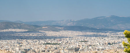 Wide angle panoramic view to Athens. Amazing greece. Travel, touristic background.