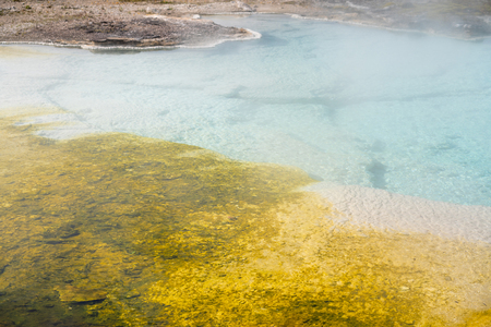 Hot Spring in Yellowstone. Grand Prismatic Pool at Yellowstone National Park Colors 스톡 콘텐츠