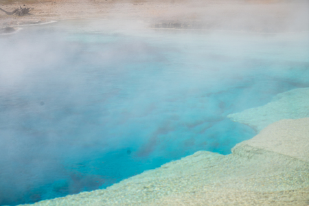 Hot Spring in Yellowstone. Grand Prismatic Pool at Yellowstone National Park Colors 版權商用圖片