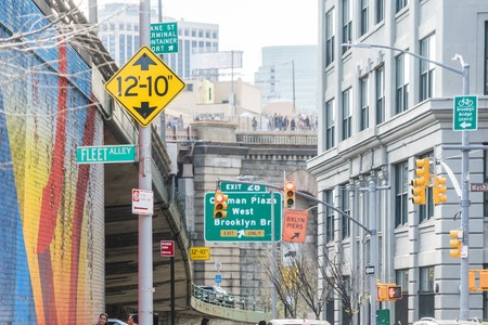 NEW YORK, USA - APRIL 28, 2018: Streets signs in Dumbo, Brooklyn New York USA