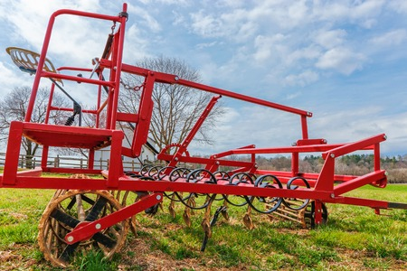 Field cultivator. Harrow system, cultivate the soil Stok Fotoğraf
