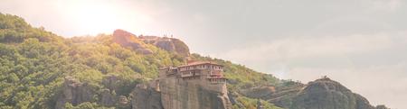 Monastries on high cliffs of Meteora mountains, Greece 版權商用圖片