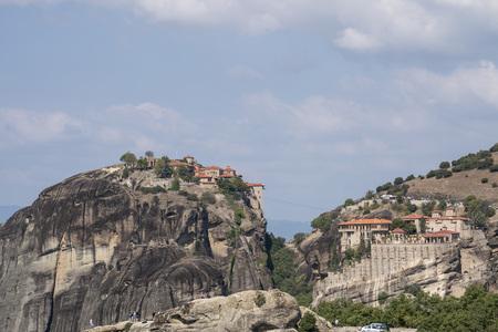 Monastries on high cliffs of Meteora mountains, Greece Фото со стока