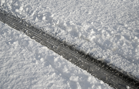 single tyre track in snow