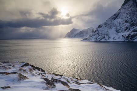 Winter fjord in Lofoten, Norway