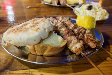 Pork Souvlaki served on the street  in Athens, Greece