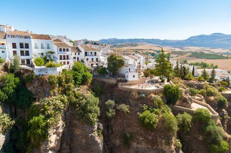 House on the edge of canyon in Ronda, Andalusia, Spain Stockfoto