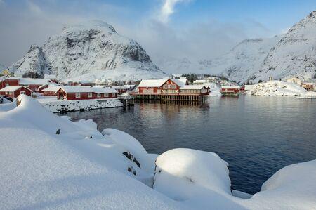 Former fishing village A on Lofoten islands Banco de Imagens