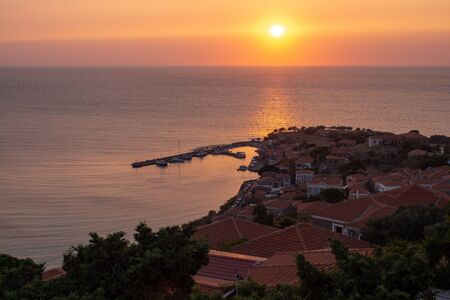 Sunset in Molyvos on Lesbos island, Greece