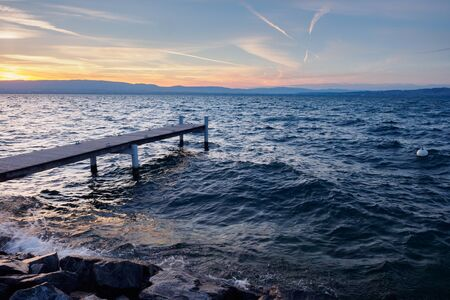 Pier at Geneva Lake in France Reklamní fotografie