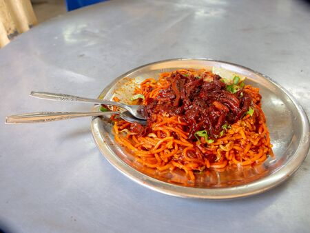 Mee Goreng Sotong in hawker centre in Georgtown, Malaysia