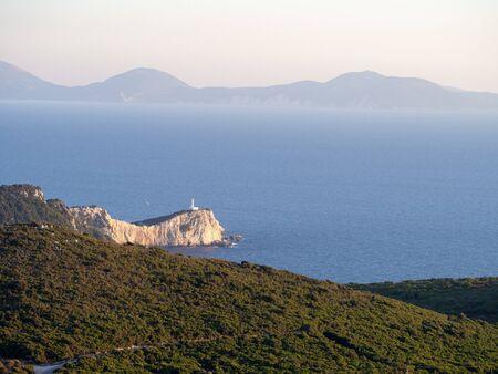 Cape with lighthouse on Lefkada island, Greece Reklamní fotografie