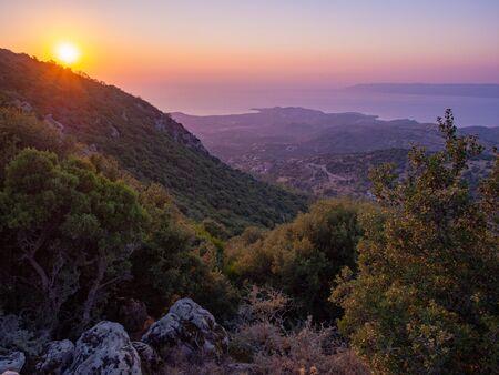 Hiking during the evening on Lesbos island, Greece Reklamní fotografie