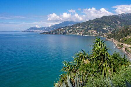 Azure coast near Ventimiglia in Liguria Italy