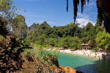 Crowded Phra Nang beach in Railay, Krabi, Thailand