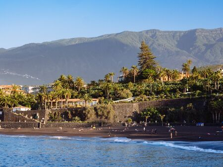 Black sand beach in Puerto de la Cruz, Tenerife, Spain