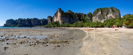 Railay West beach panorama at low tide in Krabi, Thailand