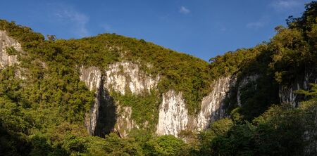 Panorama with giant caves in Gunung Mulu National Park, Borneo, Malaysia