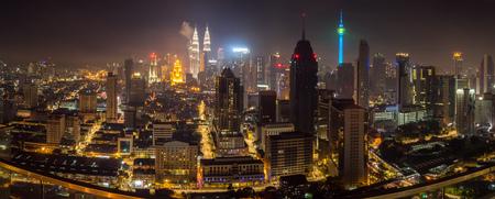 Night panorama of Kuala Lumpur, Malaysia Redakční