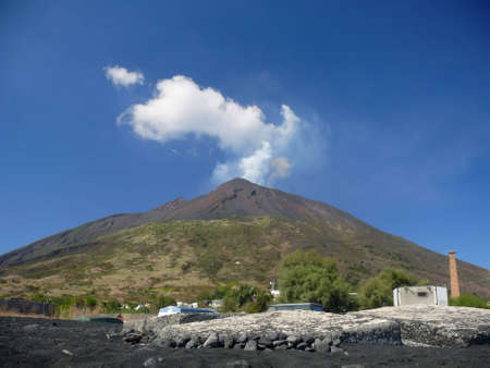 view on active vulcano of stromboli from the harbour