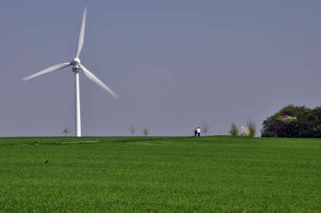 Windrad als alternative Energiequelle mit blauem Himmel und grünem Gras Wind as an alternative energy source with a blue sky and green grass