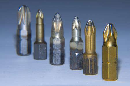 several screwdriver bits Stock Photo
