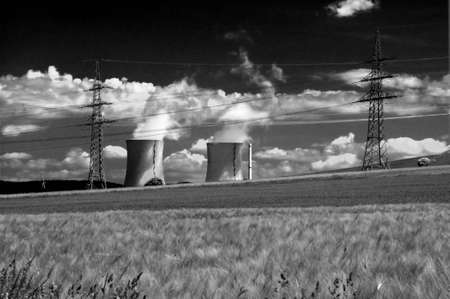 electric power station, pylons and pinwheel
