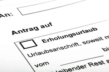 arbeit: Application for leave, black white