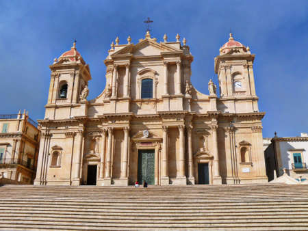 baroque sandstoned cathedral of Noto, Sicily, Italy Stock Photo