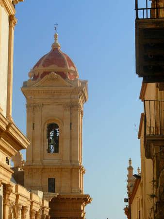 church tower in Noto, Sicily, Italy Stock Photo