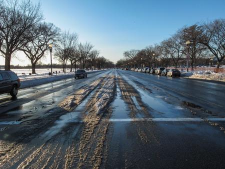 Snowy streets at noon Reklamní fotografie - 122403747