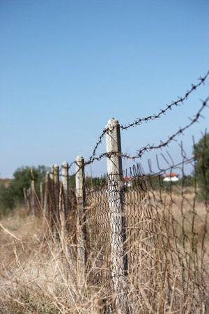 fencing wire: Barbed wire fencing in countryside