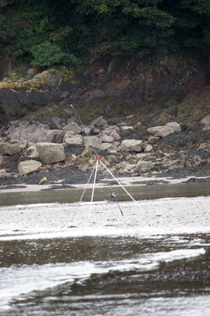 stoney: Fishing Rod on stoney  beach in Pemrokeshire
