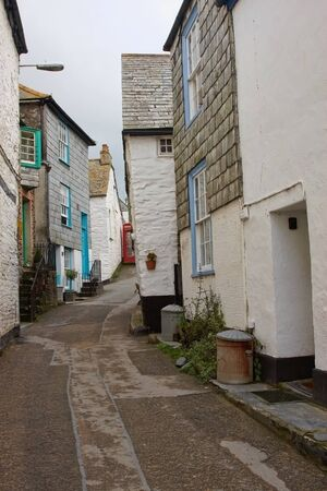english house: Old English house on a narrow street Stock Photo