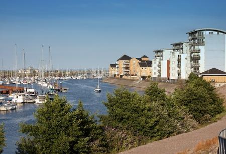 verandas: Apartment blocks overlooking a busy marina