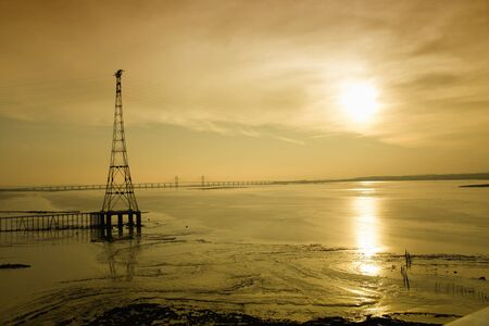 severn: The new Severn Bridge over the river  at dusk Stock Photo