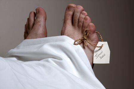 mottle: Una targhetta con il nome John Doe sul piede di un corpo