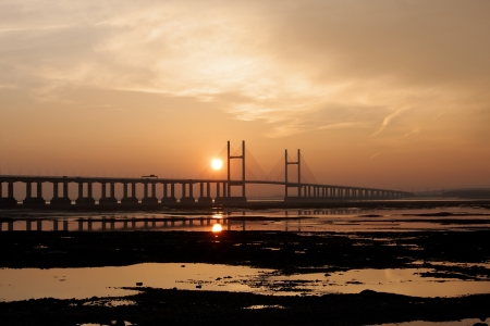 severn: A sunset over the  Severn bridge and River Severn