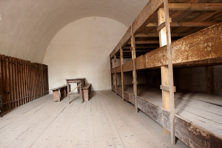 concentration camp: A bedroom in a concentration camp in Terezin