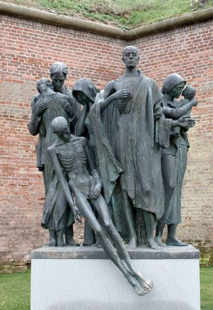 concentration camp: A monument representing death and starvation in a concentration camp Editorial