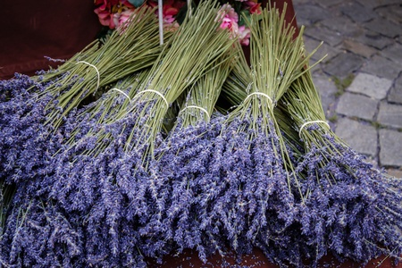 lavendar: Bunches of Lavendar on a market stall