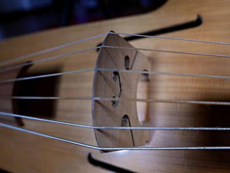 close-up view of the bridge of the musical instrument viola da gamba Stockfoto