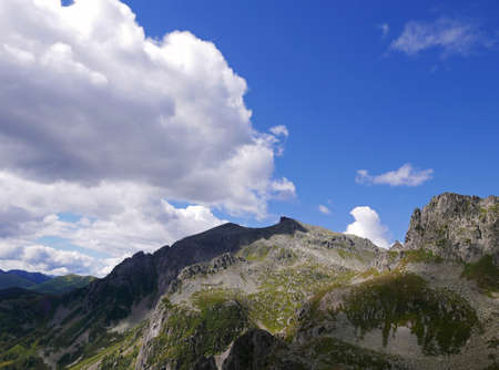 view of the wonderful Italian Dolomites in summer, between rocks and green valleys