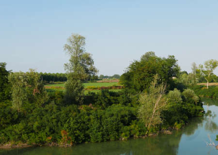 relaxing rural landscape along the banks of the river