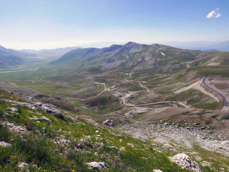 suggestive and solitary panorama of the Campo Imperatore plateau in Italy