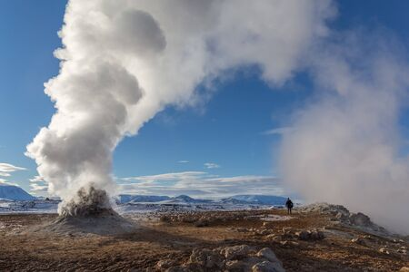 Steam coming from geothermal power plants in Iceland. A popular source of green power among Nordic countries